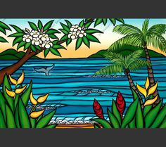 In this Hawaii art by Heather Brown, the tail of a whale disappears beneath the surface of a tranquil bay
