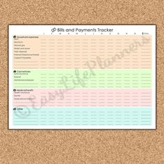 MONTHLY BILLS TRACKER pdf. A4 and Letter Size. by EasyLifePlanners