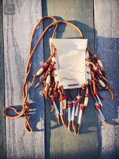 Native American Deerskin Beaded Medicine Bag Pouch with Fringe | eBay