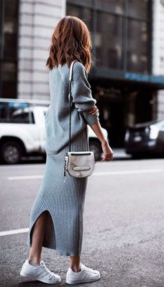 594c933f036 grey maxi sweater dress and white adidas sneakers in Minimalistic Outfit