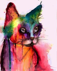 Watercolor Cat by Kaytee Callahan
