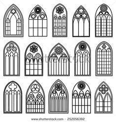 Set of design gothic window frames black silhouettes on the white background – architecture Gothic Cathedral, Cathedral Windows, Church Windows, Gothic Home Decor, Gothic Art, Victorian Gothic, Gothic Buildings, Gothic Architecture, Stained Glass Angel