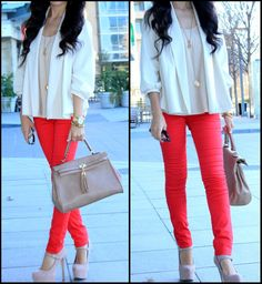 Tomato red pants + white blazer