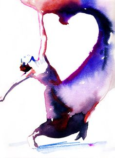 Dancer Art Print of Watercolor painting.  Titled - Dancer with heart on Etsy, $35.00