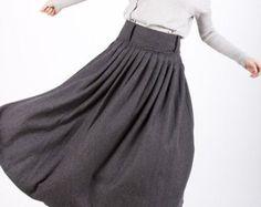 Blue linen skirt maxi skirt women long skirt 900 por xiaolizi