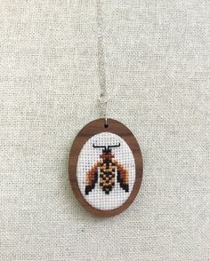 Bumble Bee Cross Stitch Necklace Needlework Embroidery Pendant Bug Insect Honey Bee Jewelry Nature Walnut MDF Setting