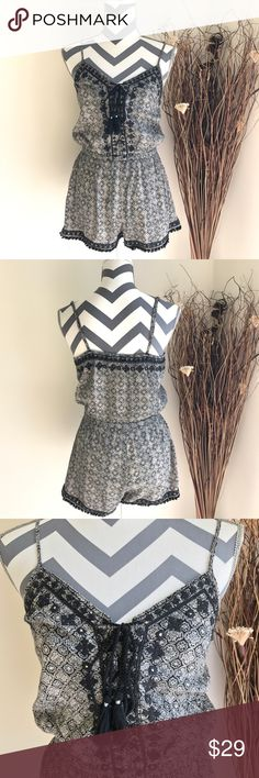 American Eagle Romper Gently used, no stains or holes. Adjustable straps and string in front with cute details all over. Please see pictures for details!! ☺️ American Eagle Outfitters Other