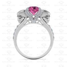 Show details for 'Ailes de L'amour' 1.80ct Pink Sapphire and White Diamond White Gold Skull Engagement Ring