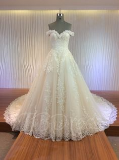 Tbdress.com offers high quality A-Line Cathedral Lace Appliques Off-The-Shoulder Princess Wedding Dress Princess Wedding Dresses unit price of $ 546.99.