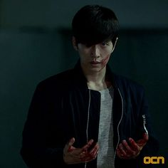 Looking great even with blood on his face and hands #parkhaejin