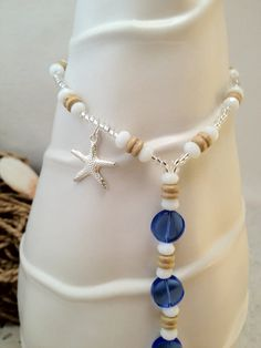 Starfish Barefoot sandals foot jewelry nautical with wood beads and blue glass beads by SilverSpoonLifestyle, $26.25