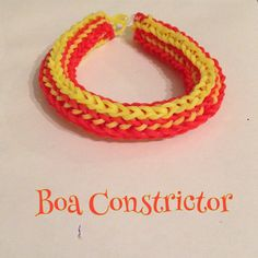 Red & yellow Boa Constrictor bracelet, made on 2 forks (design: Cheryl Mayberry)