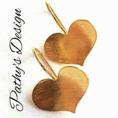 """Gold plated dangling heart earrings. Perfect with any of my """"TOTAL LOVE"""" collection. by PathysDesign on Etsy"""