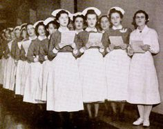 This image, which appeared in the December 1939 issue of the Presbyterian Hospital Bulletin, shows student nurses singing carols in a hospital corridor on Christmas morning, 1938.