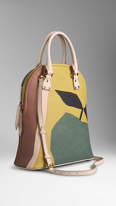 Antique Yellow Bloomsbury Bag in The Orchard Print Leather from Burberry - A structured leather tote featuring an illustrative print. Inspired by vintage book covers, the artwork is hand-painted in our studio before being printed onto the grainy leather. Discover the women's bags collection at Burberry.com