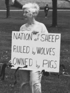 """""""Nation of sheep ruled by wolves, owned by pigs"""" Well when you put it that way..."""