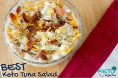 Delicious Keto Tuna Salad with Bacon and Dill! Ketogenic Diet Recipes for foodies. Low Carb High Fat Recipes with Tuna