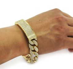 Men's Hip Hop Bracelet Gold PT Fully CZ Iced out Finish Miami Cuban Style Link for sale online 9ct Gold Bracelet, Mens Gold Bracelets, Ring Bracelet, Fashion Bracelets, Bangle Bracelets, Fashion Jewelry, Necklaces, Cheap Watches, Watches For Men