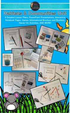 Habitats and Communities Unit Fun, Engaging & Hands-On Lessons) Communities Unit, Learning Goals, Science, My Teacher, Booklet, Habitats, Lesson Plans, Presentation, Language