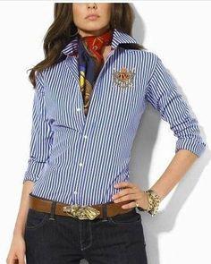 2015 Sale Ralph Lauren Overhemd Goedkope Dames lange mouwen Rayures