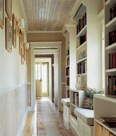Hallway turned Library complete with reading nooks...LOVE! {love}