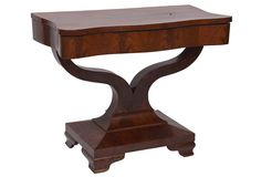 "Beautiful American Empire table in mahogany.  Not very big - 28.5"" high x 35"" wide x 18"" deep.  End table maybe?"