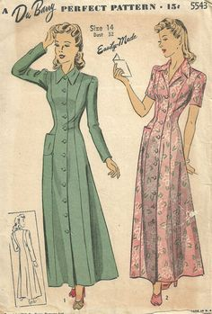 Du Barry 5543 / Vintage 40s Sewing Pattern / Robe / Size 14 Bust 32