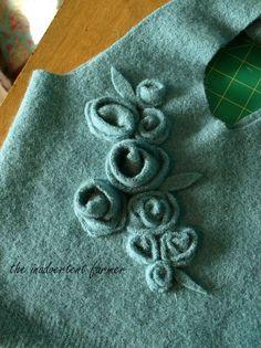 Wool sweater bag roses leaves