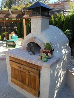 Four à pizza bois : wood fired masonry heater and oven