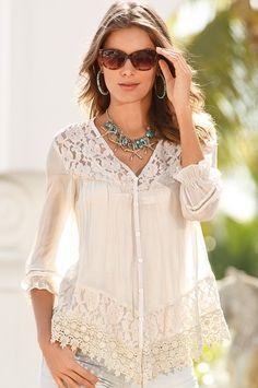 Lace babydoll blouse from Boston Proper on Catalog Spree, my personal digital mall. Modest Fashion, Boho Fashion, Fashion Outfits, Womens Fashion, Fashion Trends, Bohemian Schick, Estilo Hippie, Bohemian Mode, Lace Babydoll