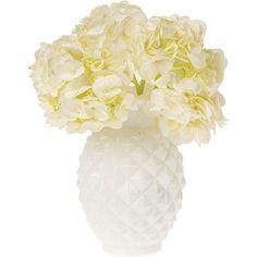 Vintage Milk Glass Vase (6-Inch, Ruffled Pineapple Design, White) -... ($19) ❤ liked on Polyvore featuring home, home decor, vases, flowers, decor, fillers, plants, white flower vase, white home accessories and white centerpieces