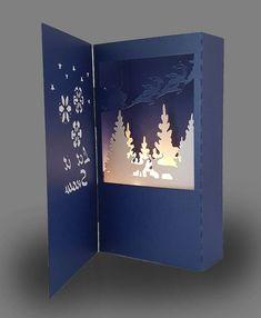 Let it Snow Shadow box card template – Christmas DIY Holiday Cards Pop Up Christmas Cards, Diy Holiday Cards, Christmas Shadow Boxes, Christmas Card Crafts, Printable Christmas Cards, Xmas Cards, Shadow Box Kunst, Shadow Box Art, 3d Cards