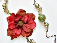 Long Olive/Burgundy Flower Necklace