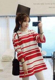 Shirred Sleeve Stripe T-Shirt Miamasvin