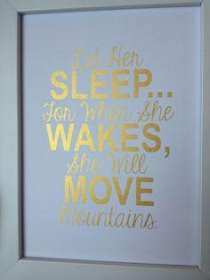 Gold Nursery quote print Let Her Sleep...
