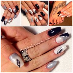 Black and white nails silver nails feather nail design nails studs ballerina shape nails coffin shape nails  inspired by Pinterest photo :)