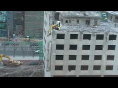 """How NOT to demolish a building!   Video shows a Beijing demolition crew """"improvising"""" to complete a project..."""