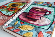 Love, love, love her juicy art journaling style.  Bold color, line framing, shades and shadows.  Very inspiring to me.
