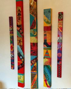 Mid Century Modern Poles Turquoise Rain Forest Glazed Wood Tin Tiles Collage Soul Totems Don& Buy Set Boho Hippie Folk Primitive Garden - Awesome idea, Peggy Gray! I can see how this would be fun for me to try with mixed media!