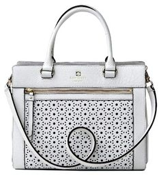 Kate Spade Nwt Perri Lane Romy Leather Handbag - Msrp $345 Chalk White Cross…