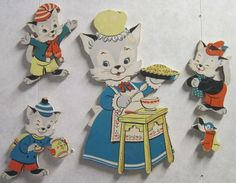 Momma cat with her kittens whom lost there mittens but the lil bird found them wall hangings #children, #decore,