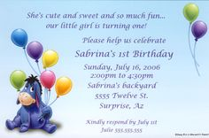 Eeyore Balloons Invitation. This is what I want her invitations to look like!