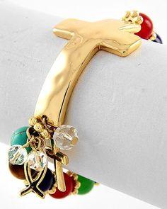 Multi Color Semi-precious Stone Cross Bracelet