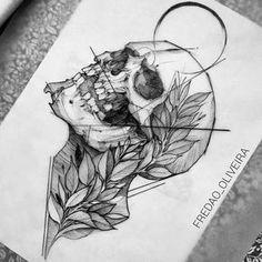 dessin de tatouage tête de mort à remplissages détaillés
