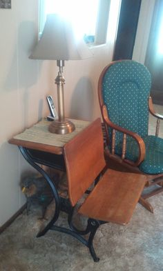 An old school desk from Branson, Missouri became a side table with extra seating as needed.