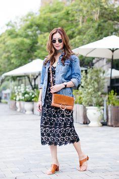 Outfit Ideas, Style Inspiration, Summer Fashion, Lace Dress, Madewell Oversized Denim Jacket, Chloe Faye Bag, ATP Atelier Cyla Sandals