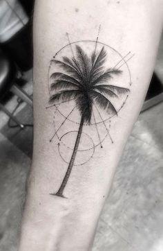 Refinado geométricas palmeira antebraço tatuagem http://tatuagens247.blogspot.com/2016/08/verao-quente-tatuagem-ideias.html