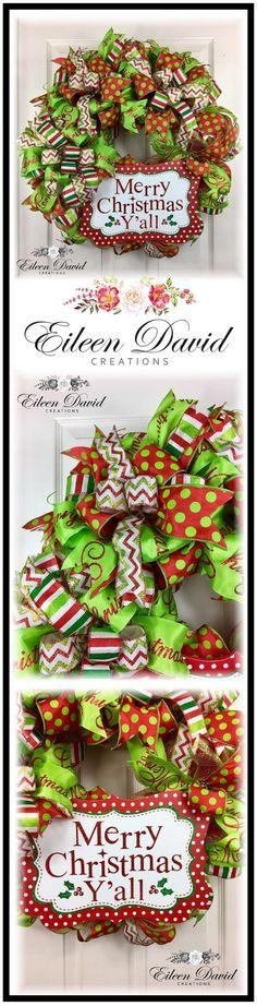 Merry Christmas Y'all Deco Mesh Wreath