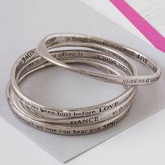 £25 set of four meaningful words bangles by lisa angel | notonthehighstreet.com