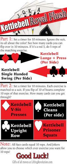 The Kettlebell Royal Flush Workout - A great total body kettlebell workout using a deck of cards! #kettlebells #fitfluential #workout